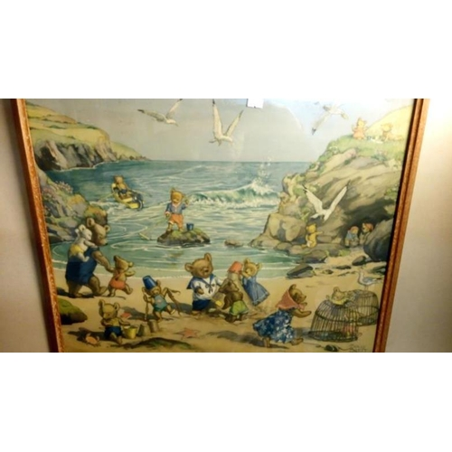758 - 5 1960's annuals of Rupert and Harold hare together with 2 children's story prints after Margaret W ...