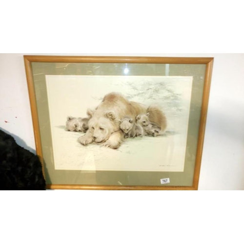 767 - A framed and glazed polar bear print...