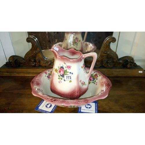 773 - A Staffordshire jug and basin set...