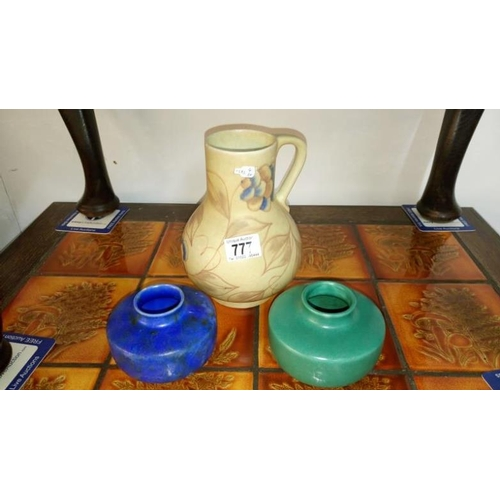 777 - A chameleon ware jug and 2 squat vases...