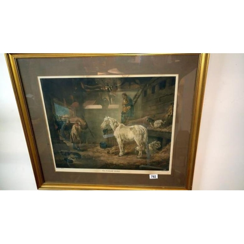 792 - A framed & glazed picture 'The Farmers Stable'...