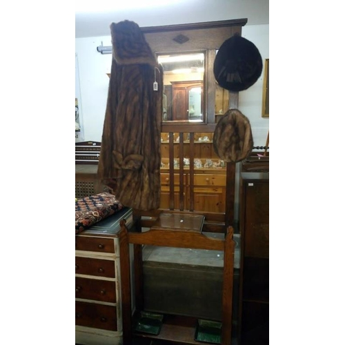 801 - An oak hall stand...