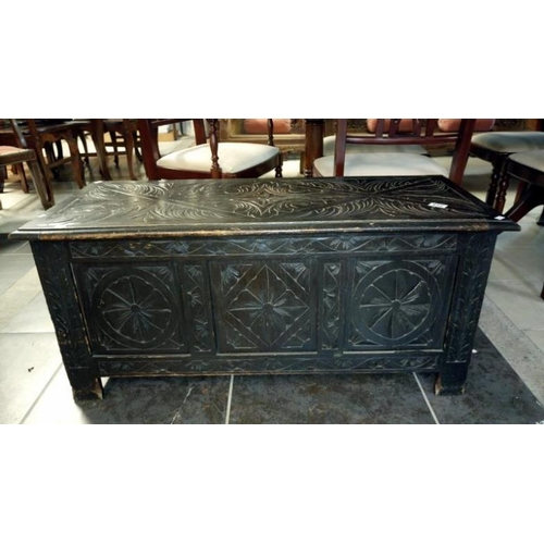 812 - A late 19th century carved oak coffer...