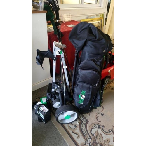815 - A Hillbilly golf bag and electric trolley with charger and battery...