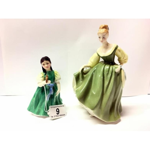 9 - 2 Royal Doulton figurines 'Fair Lady' and 'Jasmine'...