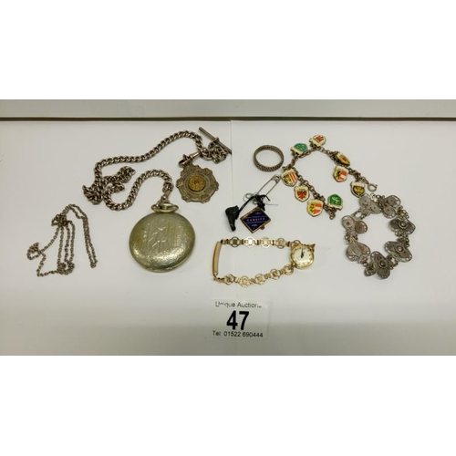 47 - A mixed lot including bracelet, pocket watch on chain etc...