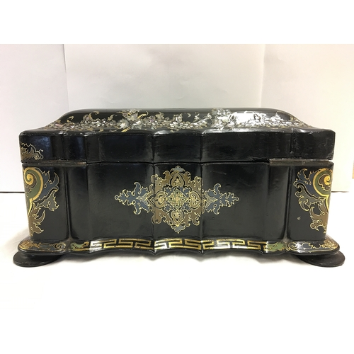 249 - A beautiful papier mache' Victorian black lacquer work box decorated with mother of pearl, hand pain...