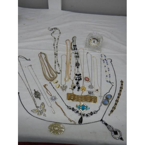 501 - A good mixed lot of costume jewellery including a glass clock, 25 items.