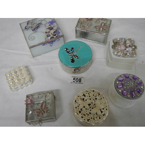 508 - 8 assorted pill and trinket boxes including enamel....