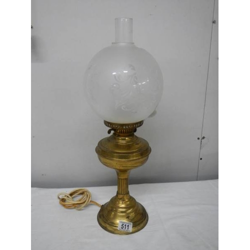 511 - A brass half Nelson style electric table lamp complete with shade but needs plug....