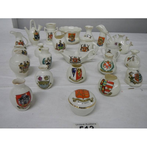 513 - 21 pieces of assorted crested china, all in good condition.
