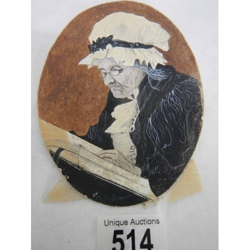 514 - A framed watercolour portrait of an elderly lady, signed W Hill....