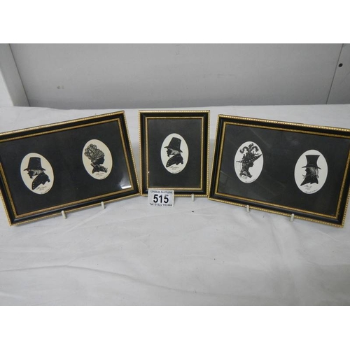 515 - 2 framed and glazed double silhouettes and a single silhouette of Victorian people....