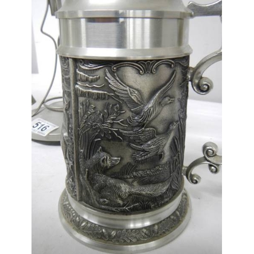 516 - A four trumpet glass and EPNS eperge, a glass claret jug with plated top and a beer stein with stag,...