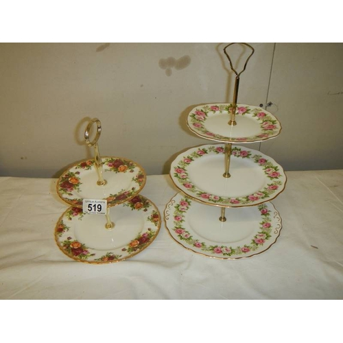 519 - A Royal Albert Old Country roses 2 tier cake stand together with a Colclough 3 tier cake stand....