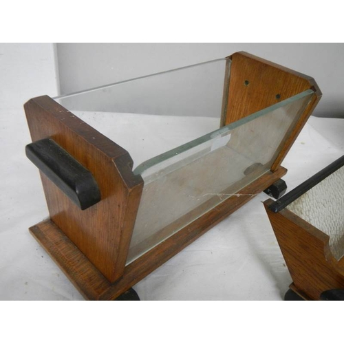 523 - An art deco free standing mirror and 2 art deco wood and glass fruit bowls, all in good condition....