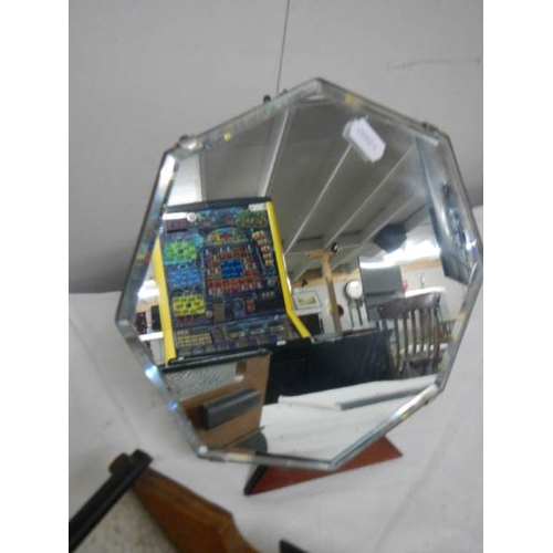 523 - An art deco free standing mirror and 2 art deco wood and glass fruit bowls, all in good condition.