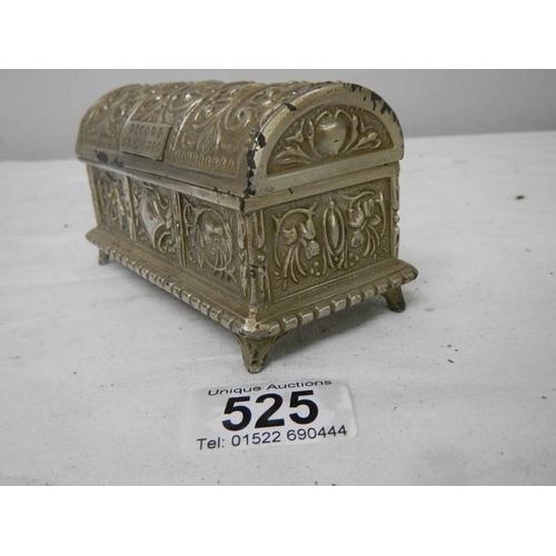 525 - A good domed top trinket box with blue lining....