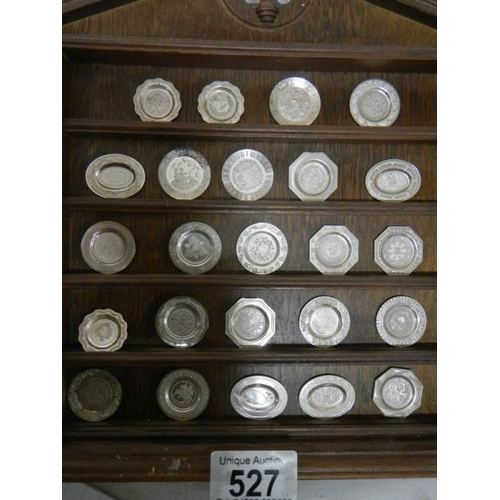 527 - 24 miniature historical English silver plates (should be a set of 25 but one missing)....