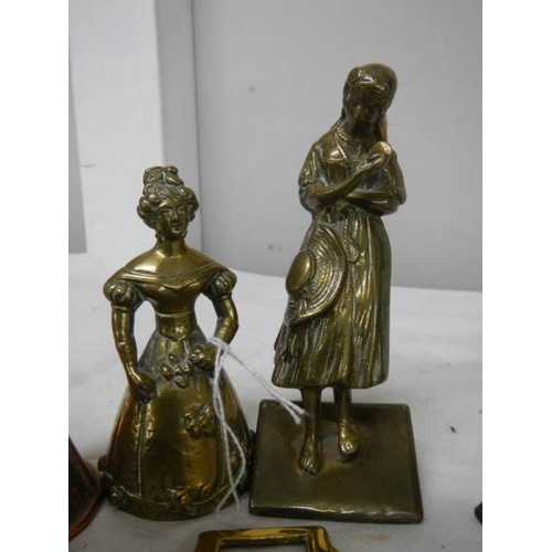 529 - A mixed lot of brass ware including miniature lantern, marble base figure etc.,...