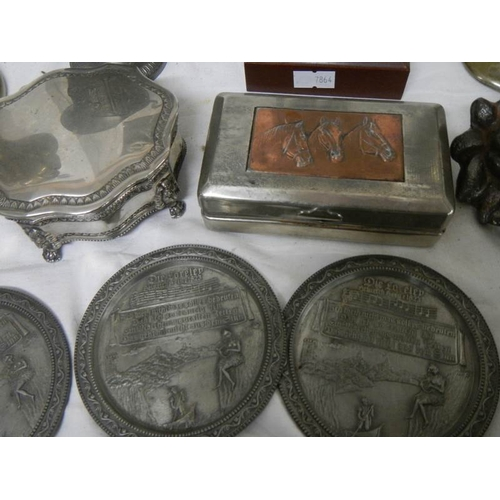 531 - A mixed lot of EPNS including trinket box, lions, spill vases, Don Quixote figure, pair of Danish ca...