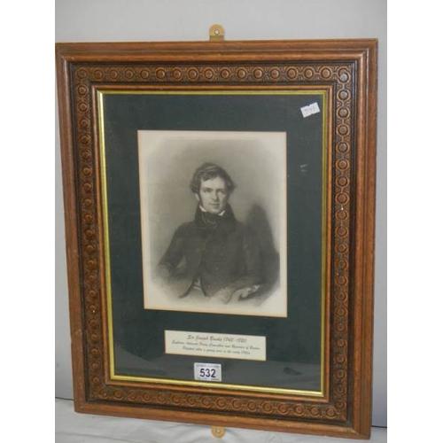 532 - A framed engraving of Sir Joseph Banks, 1743 - 1820....