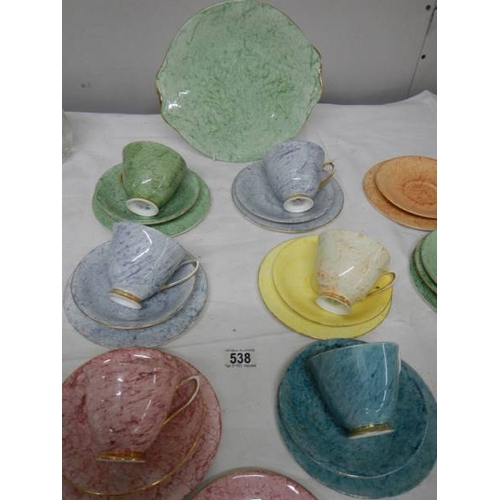 538 - A quantity of Royal Albert 'Gossamer' pattern tea ware (yellow cup and grey saucer chipped)....