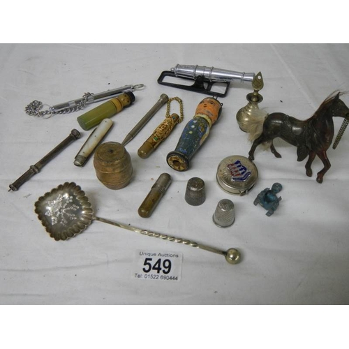 549 - A mixed lot of vintage needle cases, silver fruit knife, unmarked propelling pencil etc.,...