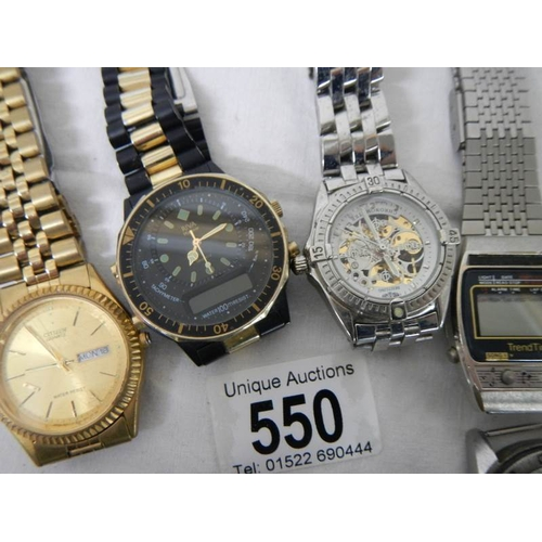 550 - A quantity of old wrist watches and 2 compasses....