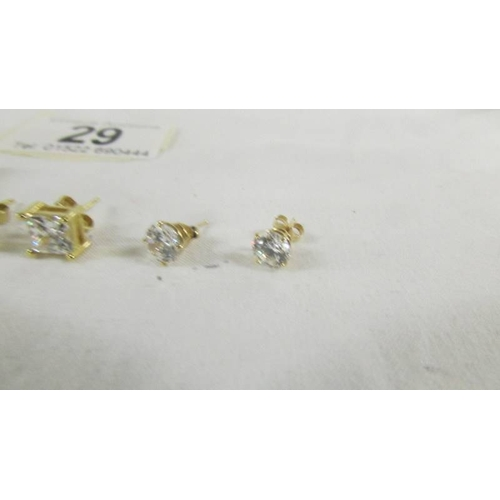 29 - 3 pairs of 9ct gold earrings set cubic zirconia's....