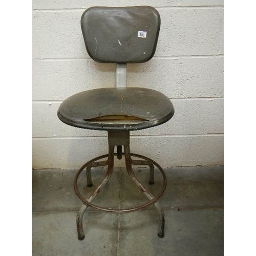 303 - A vintage telescopic workshop chair for restoration.f