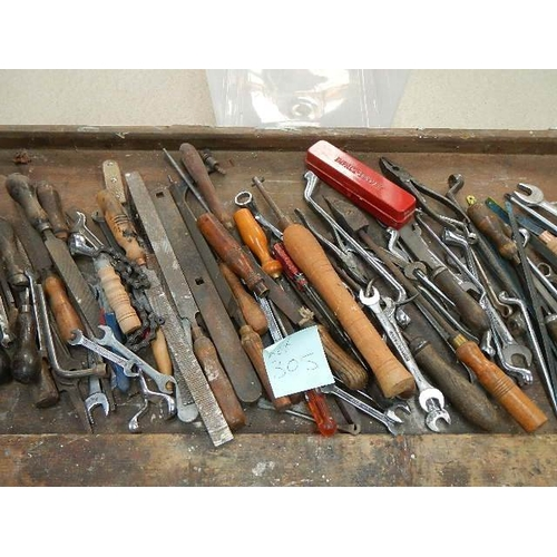 305 - A good selection of engineering tools including files, spanners, Britool, Gordon, Bedford etc.,