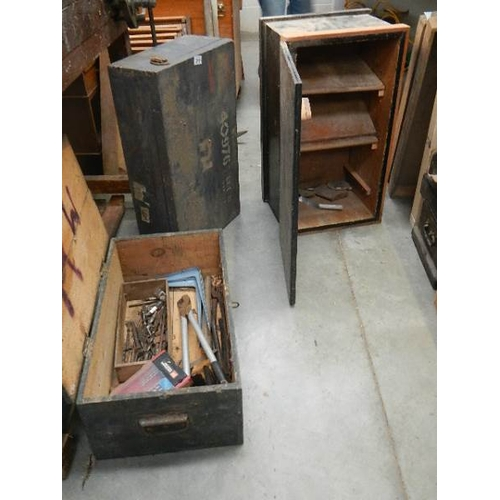 316 - 3 old wooden tools boxes and some tools.