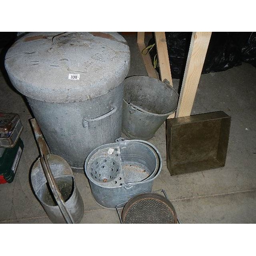 330 - A galvanised bin, bucket, watering can etc, 6 items.