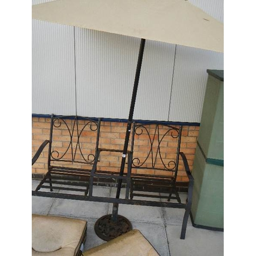 337 - A 2 seat garden table with sunshade.