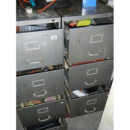 343 - 2 metal filing cabinets (one missing  lock and key) containing tools.