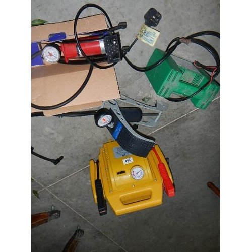 344 - 2 battery charges and 2 foot pumps.