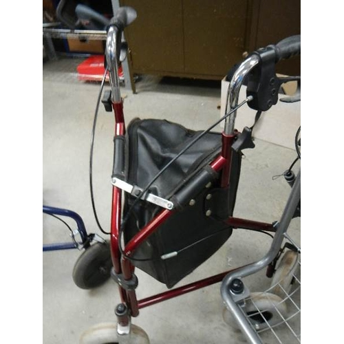 351 - 4 mobility aids - 3 collapsible shopping trolleys and a household trolley.