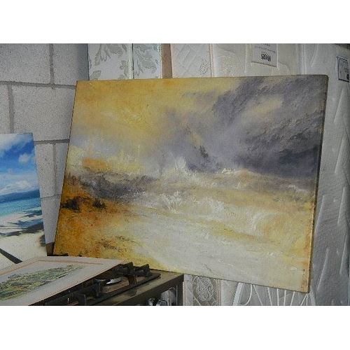 357 - 3 prints and canvas and another print, landscapes.