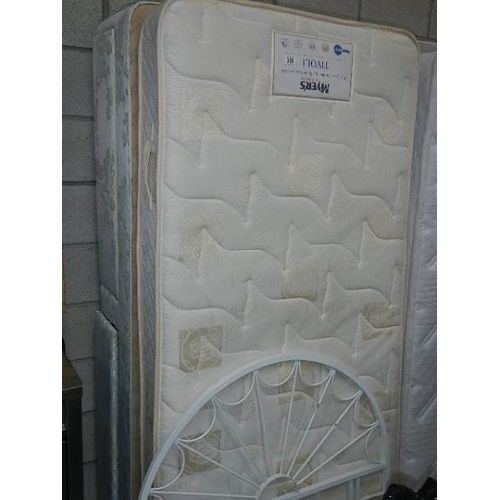 358 - A good clean single divan with Myers mattress and complete with headboard, (mismatched base).