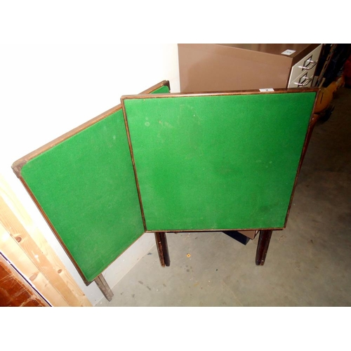 2 - 2 vintage folding card tables with green felt tops