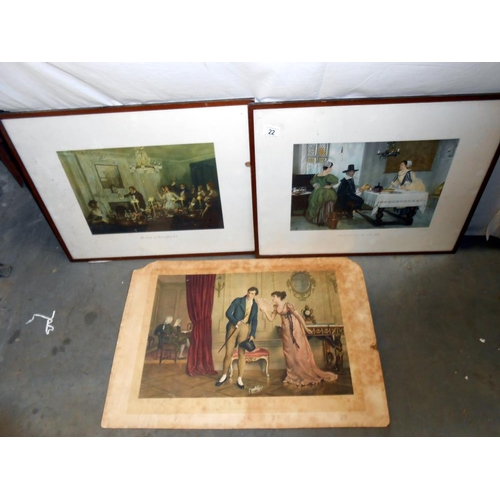 22 - 3 x 19c prints, Between 2 fires F D Millet and The toast by Richard Jack and 1 other