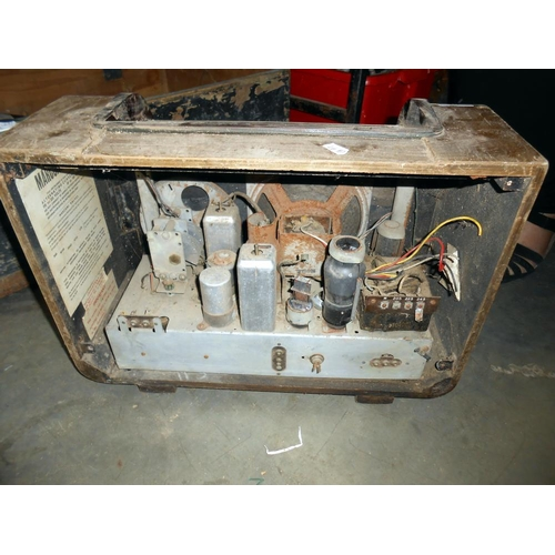 26 - An old pine tool box and vintage Marconi valve radio for restoration