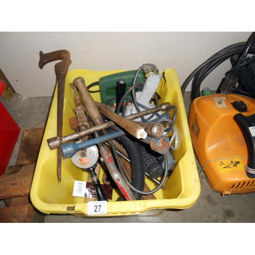 27 - 2 boxes of tools including a vice
