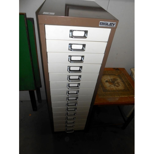 3 - A Bisley metal 15 drawer foolscap/A4 filing cabinet 41cm x 28cm height 94cm