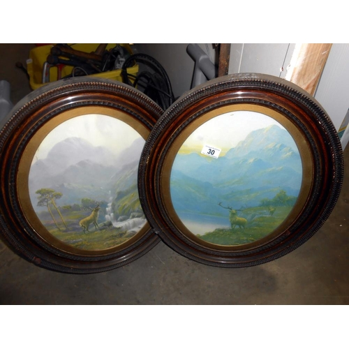 30 - A pair of Edwardian oval framed Highland stag prints