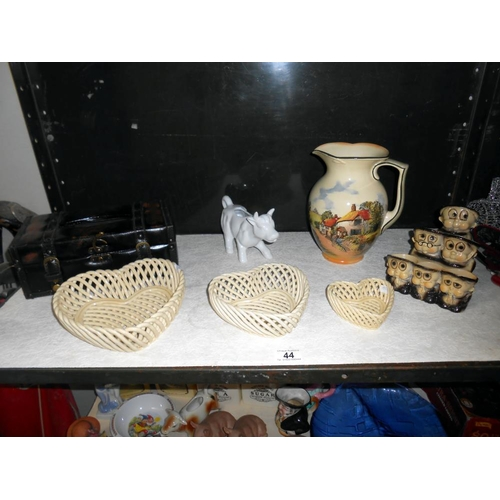44 - Royal Doulton Country scene milk jug, monk group egg stand, cow creamer etc.