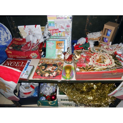 48 - 4 shelves of Christmas decoration including some vintage items