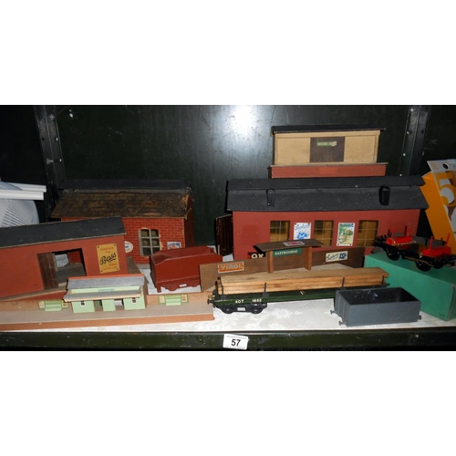 57 - O' gauge wooden railway buildings and Hornby boxed no.50 wagon etc.