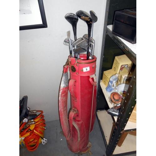 9 - A BGF golf bag (needs clean) plus 12 mostly Slazenger golf clubs, size 2, 3, 4, 5, 6, 7, a wedge, pl...